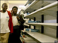 Empty shop shelves in Zimbabwe, 2008 file pic