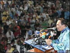 Malaysian opposition leader Anwar Ibrahim addresses a rally in Petaling Jaya, outside Kuala Lumpur, on Monday