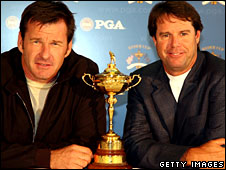Europe captain Nick Faldo and United States skipper Paul Azinger