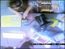 Video of customer inputting PIN number at petrol station