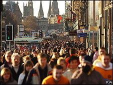Shoppers on Edinburgh's Princes Street