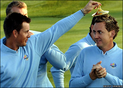 Europe's Henrik Stenson and Ian Poulter share a joke before Ryder Cup practice on Tuesday