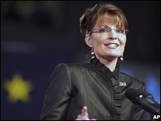 Republican vice-presidential nominee, Sarah Palin speaks in Anchorage, Alaska (13/09/2008)