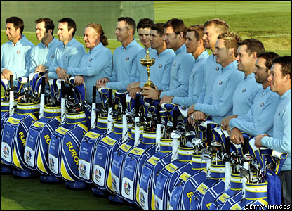 Team Europe pose with their golf bags