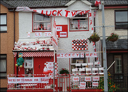 House decorated in Tyrone county colours