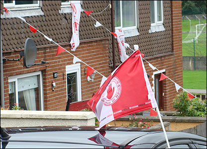 Tyrone flag flying from car window