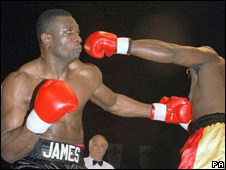 James Oyebola, beating Clifton Mitchell to win the British heavyweight title