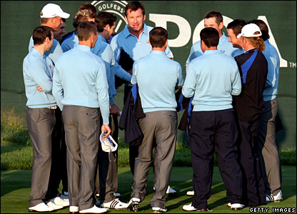 Captain Faldo gathers his men for a team talk