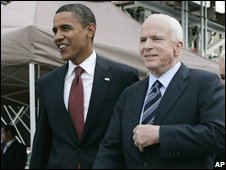 Barack Obama (L) and John McCain in New York (11/09/2008)