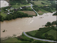 A flooded highway in Pinar del Rio province, 11 Sept
