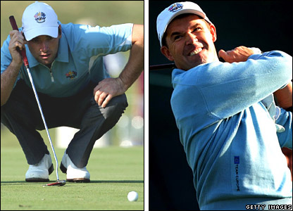 Oliver Wilson and Padraig Harrington practice at Valhalla