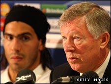 Carlos Tevez (left) and Sir Alex Ferguson
