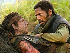Ben Stiller and Robert Downey Jr in Tropic Thunder