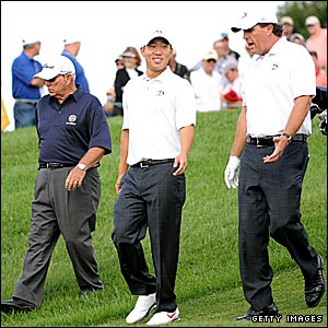 Butch Harmson, Anthony Kim and Phil Mickelson