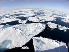 Arctic ocean with curved horizon