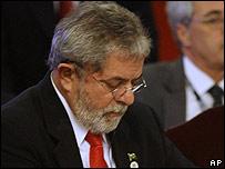 Lula da Silva durante la reunión de Unasur en Santiago, Chile