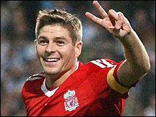 Liverpool skipper Steve Gerrard celebrates after scoring in the win over Marseille