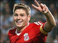 Liverpool skipper Steve Gerrard celebrates after scoring in the win over Marseille