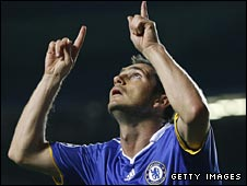 Frank Lampard wheels away after scoring for Chelsea against Bordeaux