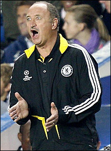 Scolari shouts instructions to his players