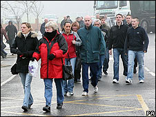 Redundant workers leave an Electrolux plant in Spennymoor last December after its closure was announced