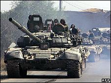Russian tanks in Tskhinvali, S Ossetia, 30 Aug 08