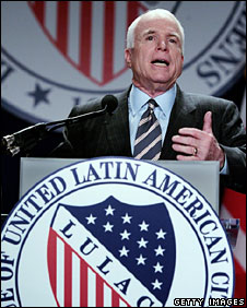 John McCain addresses the national convention of the League of United Latin American Citizens, Washington, 8 July