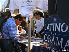 A new voter registers at a Democratic Party booth