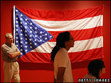 Flag, a work by Josue Pellot, is displayed in the National Museum of Mexican Art, Chicago, 9 July