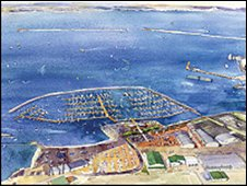 Artist's impression of the new marina (courtesy of Dean & Reddyhoff)