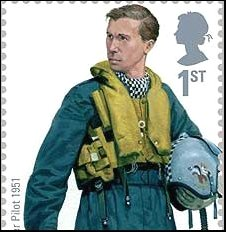 RAF stamp showing 1951 Hawker Hunter pilot