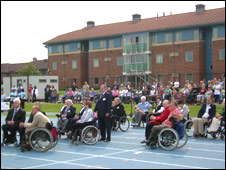 Paralympians, school children and Paralympian hopefuls gathered outside Stoke Mandeville hospital