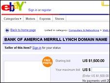 eBay cybersquatter auction