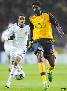 Adebayor brings the ball away from Betao