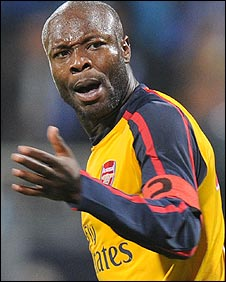 William Gallas after his equaliser for Arsenal against Dynamo Kiev