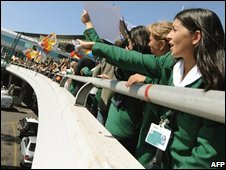 Alitalia air hostesses and employees demonstrate at Fiumicino airport near Rome, 17 September 2008