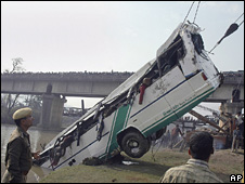 File picture of a bus accident in India
