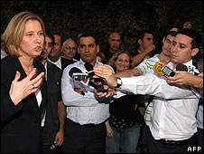 Tzipi Livni speaks as results come in