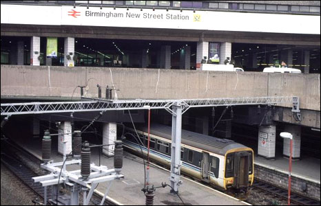 A photo of Birmingham New Street Station in the 1990s