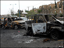 Site of the attack on the US embassy in Sanaa, Yemen, on 18/09/08
