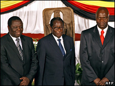 Morgan Tsvangirai, Robert Mugabe and Arthur Mutambara (15 September 2008)
