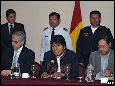 Evo Morales at talks in Cochabamba