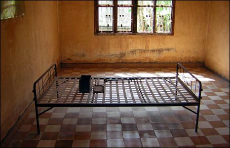A bedstead in one of the rooms for important prisoners at Tuol Sleng