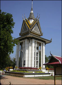 A skull-filled memorial to those who died at Choeung Ek