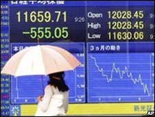 Pedestrian passes a display of the Nikkei index early this week