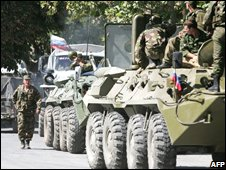 Russian troops in the South Ossetian capital, Tskhinvali. File photo