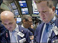 Corredores de bolsa en Wall Street