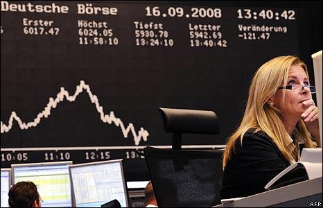 A Deutsche Borse worker on 16 Sep