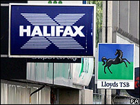 A Halifax sign next to a Lloyds TSB on a UK street (credit: Lewis Whyld/PA wire)