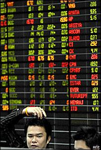 Pizarra de una bolsa de valores asi�tica
